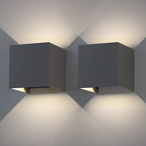 Klighten 2 er Pack LED Wandleuchten,IP 65 Außenwandleuchten,Natürliches Weiß Wandbeleuchtung Gips Lampe Eckige Leuchte Gipslampe mit Verstellbarem Lichtstrahl,Dunkelgrau
