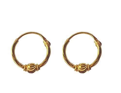 Sólido de 18 quilates genuino Diseño aros de oro Pequeño única perla (18 quilates) Fino
