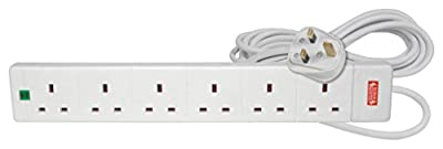 Mercury | 6 Gang Extension Lead with Surge Protection | 5 Metre,White