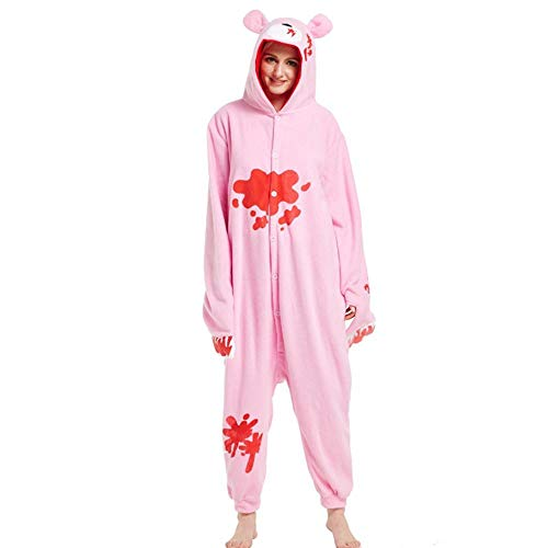 Pijama Oso Kigurumi Pijamas Rosa Onesies Fleece Adulto Dibujos Animados Onesie Mujeres Animal Pijamas Cosplay Traje Homewear-Oso Rosa_L.