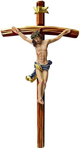Kaltner Präsente Geschenkidee - 50 cm Wandkreuz Kruzifix mit Jesus Christus Figur auf Kreuz aus Holz mahagoni farbig von Hand bemalt
