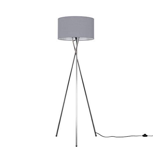 Modern Polished Chrome Metal Tripod Floor Lamp with a Dark Grey Cylinder Shade