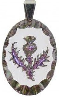 Flower of Scotland Medium Frosted Teardrop Crystal Pendant Thistle