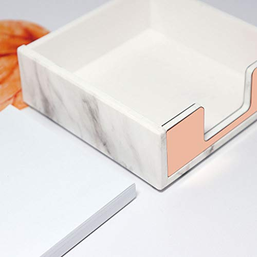 Marble Rose Gold Acrylic Sticky Memo Pad Holder with Rose Gold Paper Clips Holder 100pcs 28mm Rose Gold Paper Clips Rose Gold Modern Desk Organizer Set for School Office and Personal Use Photo #2