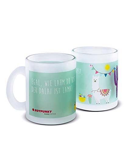 ROTPUNKT hochwertige Tasse mit Lama Motiv | Handwäsche empfohlen | 300ml Inhalt | großer Henkel (Motiv 2, Milchglas 1 Tasse)