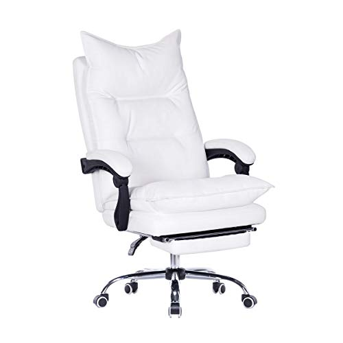 EROMMY High Back Office Chair,PU Leather Executive Desk Chair, Adjustable Ergonomic Swivel Task Chair with Padded Armrests,Foot Rest, White