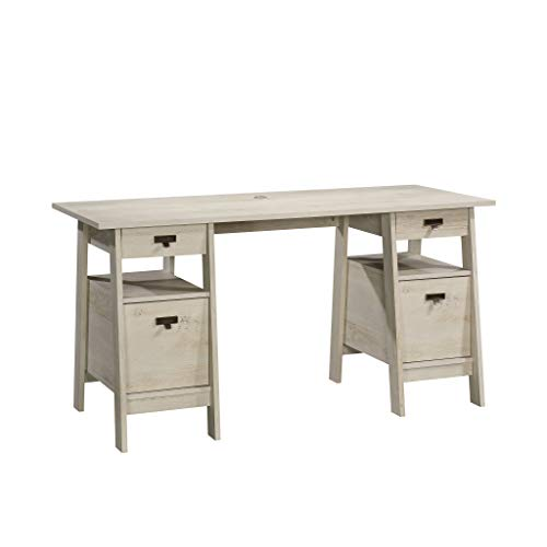 Sauder Trestle Executive Trestle Desk, Chalked Chestnut finish