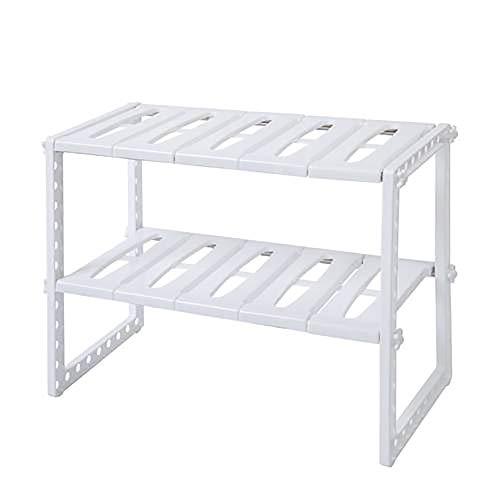 GCCLCF Edelstahl-Multifunktions-Küchenspülstange verstellbare Regalspeicherbox klassisch Koreanisches Weiß