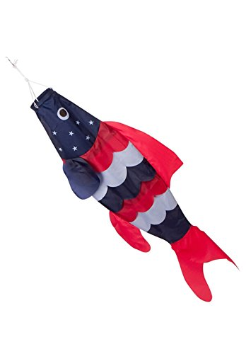 Zcutt Kites & Spinners 40-inch Patriotic Fish Windsock (3.3 feet) - Stars and Stripes - Red, White, Blue - Includes Hanging Clip.