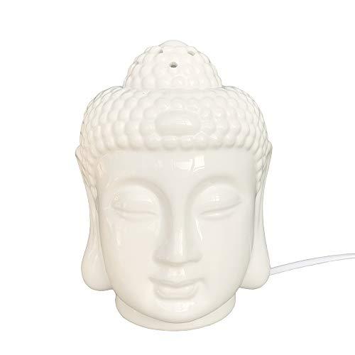 Moylor Porcelain Zen Buddha Head Status Electronic Essential Oil Warmer Scented Candle Tart Burner Night Lamp for Aromatherapy Spa Sleep Yoga