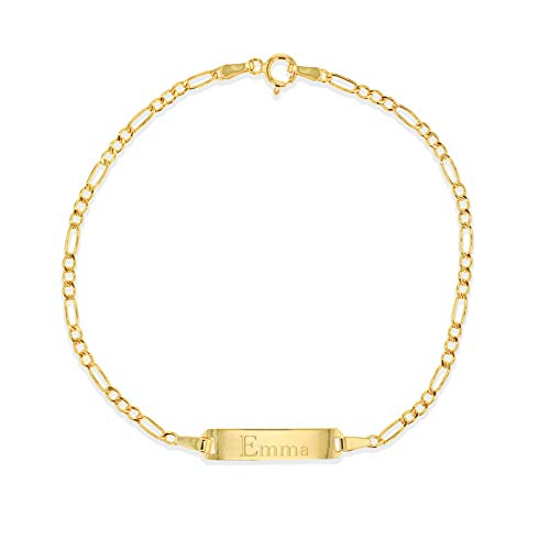 Carissima Gold Women's 9ct Yellow Gold 17mm x 4.5mm Hollow Figaro ID Bracelet 18cm/7'