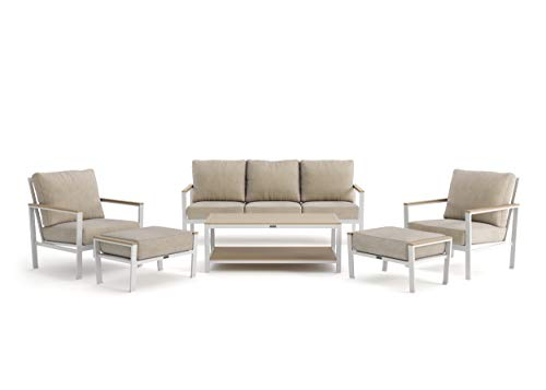 Winston Echo Cushion - 6-Piece Sofa, Stationary Lounge Chair and Ottoman Seating Set - Fog Frame - Beech Wood Armcaps - Sunbrella Cast Ash Fabric