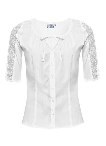 Hess Damen Trachten-Mode Trachtenbluse Vroni in Weiß traditionell, Größe:46, Farbe:Weiß