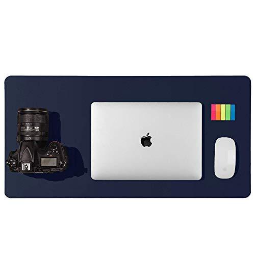 Alfombrilla de escritorio, alfombrilla de ratón, protector de escritorio, papel secante de cuero de PU antideslizante para juegos de oficina/hogar(60cmx35cm,Azul oscuro)