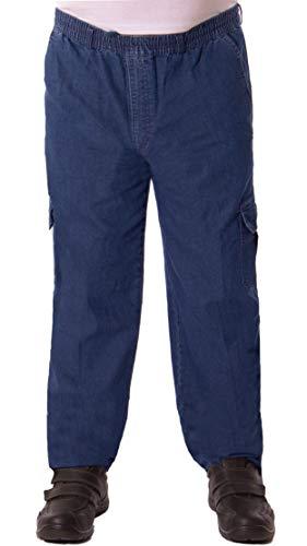 FASHION YOU WANT Herren Senioren Jeans Schlupfhose für Opas mit rundum Gummizug und Seitentaschen (56 (XXXL), Jeans blau)
