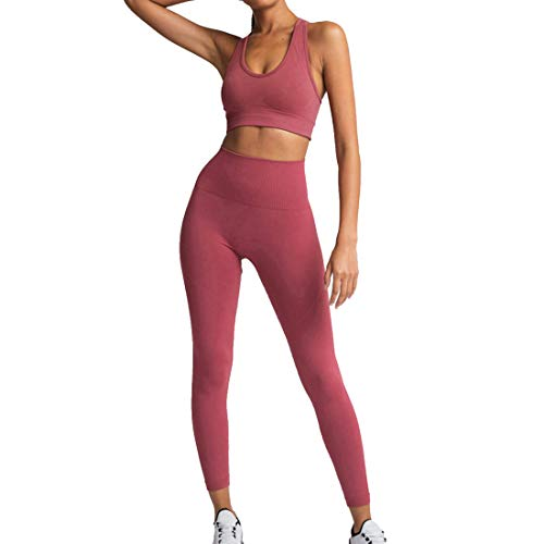 MUYOGRT Mujeres Tops Yoga Seamless Gradient Top de Manga Larga Pantalon Deportivo Leggings Sin Costuras Mujer Alta Cintura Elásticos Fitness para Gym Running Yoga(X-red1,S)