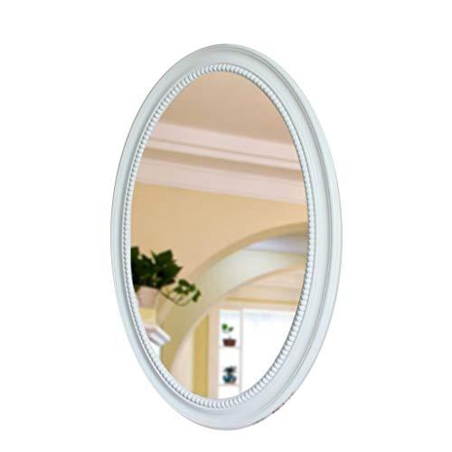 WXF Espejo de Pared Decorativo Ovalado, Estilo Vintage Madera Maciza Enmarcada Espejo de Vanidad Espejo Montado En La Pared para Baños Dormitorios Aparadores y Decoración Antigua (Color : Blanco)