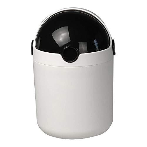 Fosly 1.8 L Mini Papelera para Escritorio, Cubo de Basura Pequeño con Tapa, Bote de Basura (Negro)