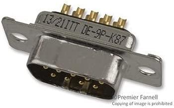 ITT CANNON DE9P-K87 D Sub Connector, D Series, DE, Plug, 9, Metal, Solder (10 pieces)