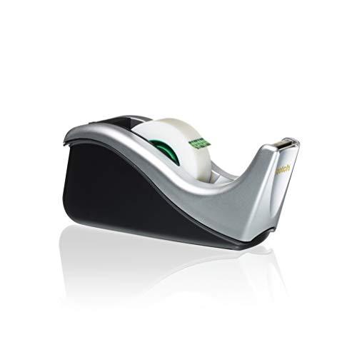 Scotch Dispensador para Cinta adhesiva - Modelo C60 para Cinta de hasta 19mm x 38m - Dispensador rellenable para la escuela, el hogar y la oficina - Incluye un rollo de cinta - Color negro y plata
