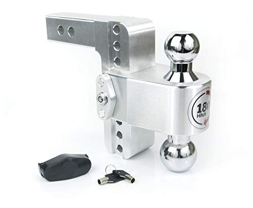 Weigh Safe CTB6-2, 6' Drop 180 Hitch w/ 2' Shank/Shaft, Adjustable Aluminum Trailer Hitch & Ball Mount, Chrome Plated Steel Combo Ball (2' & 2-5/16') and a Double-pin Key Lock
