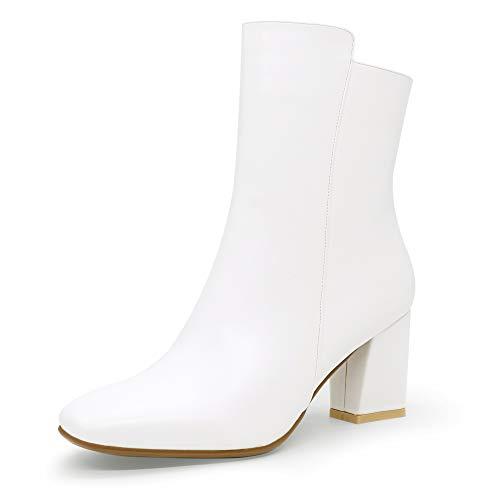 IDIFU Women's Ada Fashion Square Toe Short Gogo Ankle Boots Low Block Heel Side Zipper Booties - Half Size Larger (White Pu, 8.5 M US)