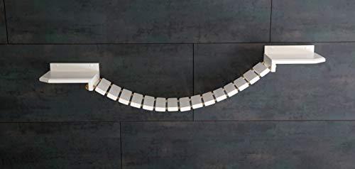 Jennys Tiershop Weiß. Katzen Wandpark, Handgefertigte Tiermöbel/Luxusmöbel, Katzenmöbel in Vielen Ausführungen, Kratzbaum/Hängematte für die Wand. Hier: Hängebrücke 130 x 20 cm weiß (12u4)