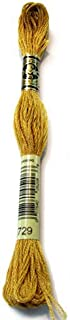 DMC 117-729 Six Strand Embroidery Cotton Floss, Medium Old Gold, 8.7-Yard