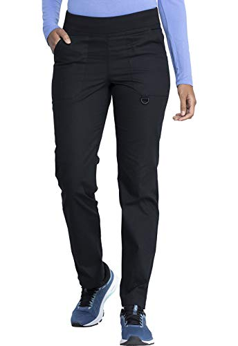 Dickies EDS Signature Women Scrubs Pant Mid Rise Tapered Leg Pull-on DK125P, XXS Petite, Black