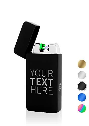 TESLA Lighter T10 Schwarz Lichtbogen Feuerzeug mit Wunschtext Text-Gravur Text selber gestalten personalisierbar USB Aufladbar Elektro Sturmfest Plasma Doppel-Lichtbogen