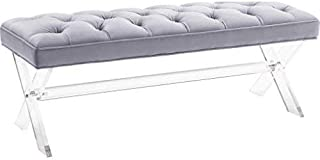 TOV Furniture Claira Collection Ultra Modern Velvet Upholstered Entryway Bench With Tufting and Splayed Leg Finish, Gray