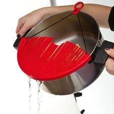 Ndier - Colador de Goma Plegable, Color Rojo