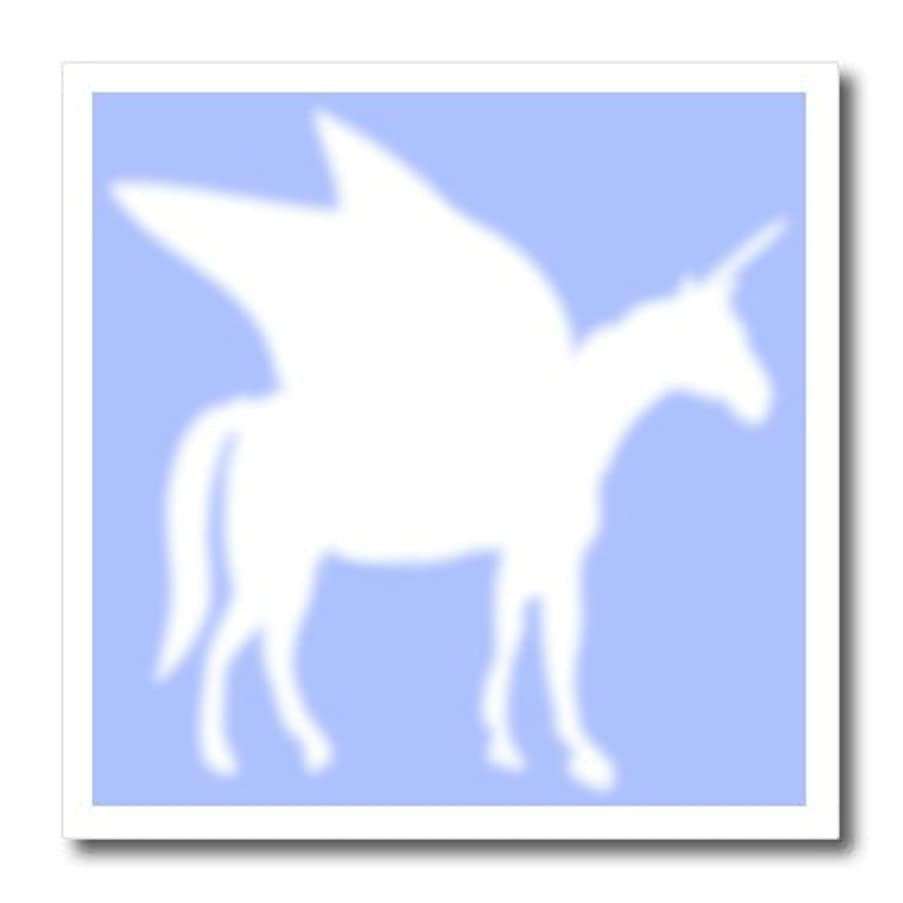 3dRose ht_56737_1 White Pegasus Silhouette on Pastel Blue Magical Fantasy Creatures Iron on Heat Transfer for White Material, 8 by 8-Inch