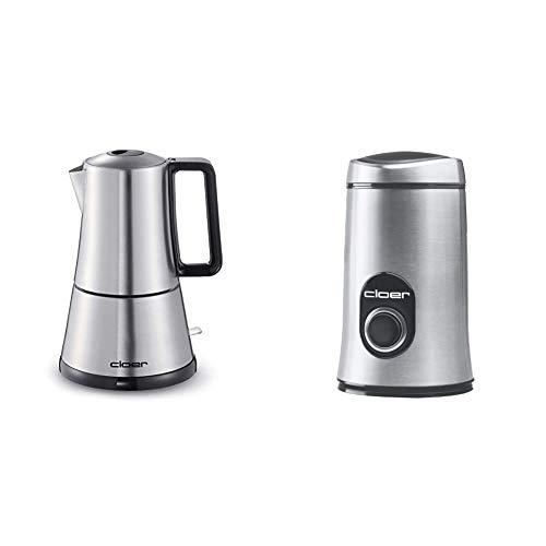 Cloer 5928 Espresso-Kocher / 365 W/für 3-6 Tassen Espresso/Edelstahlgehäuse & 7579 Elektrische Kaffeemühle / 150 W/für 50 g Kaffeebohnen/mattiertes Edelstahlgehäuse