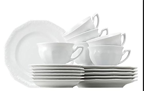 Rosenthal Maria Weiss Bianco Servizio caffè 21 pz: 6 Tazze caffè, 6 piattini x Tazze caffè, 1 caffettiera 1,08 L, 1 zuccheriera 0,27 L, 1 lattiera 0,17 L