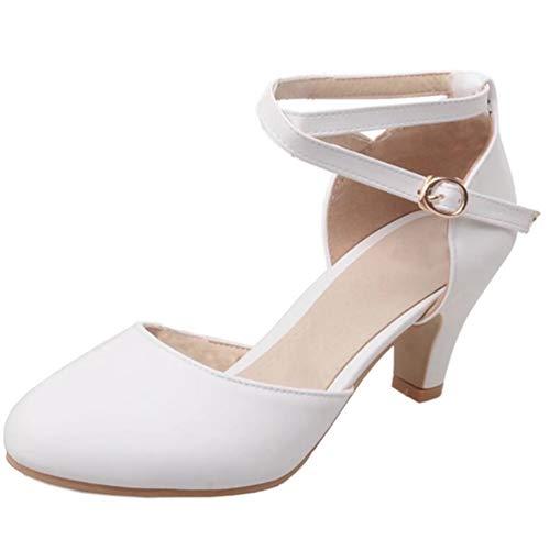 LUXMAX Damen Kitten Heels Pumps mit Knöchelriemen 5cm Kleinem Absatz Schuhe(Weiss 38)
