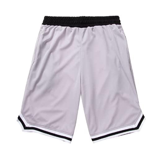 Burkashear Pantalones cortos deportivos de entrenamiento de gimnasio para hombre, entrenamiento de correr, botines con cordón, cinturón elástico, pantalones de playa, de secado rápido gris XL