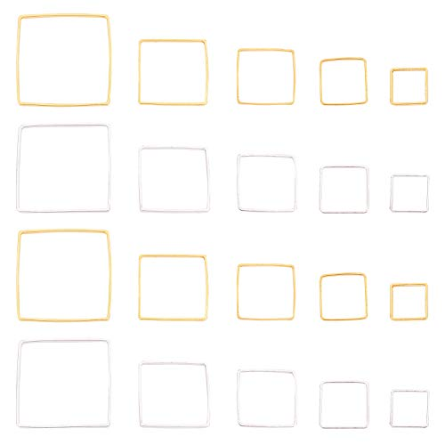 PandaHall 200pcs Square Linking Rings 5 Sizes Geometry Metal Charms Links Frames Charms Jewelry Connectors for Necklaces Bracelets Jewelry Dangle Earring Making Key Chain (Gold & Silver)