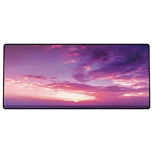 Alfombrilla de ratón para Juegos 600 x 300x3 mm,Sky Decor, Sunset Pink Sky View Colorear el Cielo y Las Nubes Imagen temática romántica, Amarillo Base de Goma Antideslizante, Adecuada para Jugadores