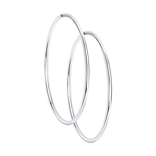 Mirkada - Pendientes de aro de plata para mujer, diámetro de 40 mm