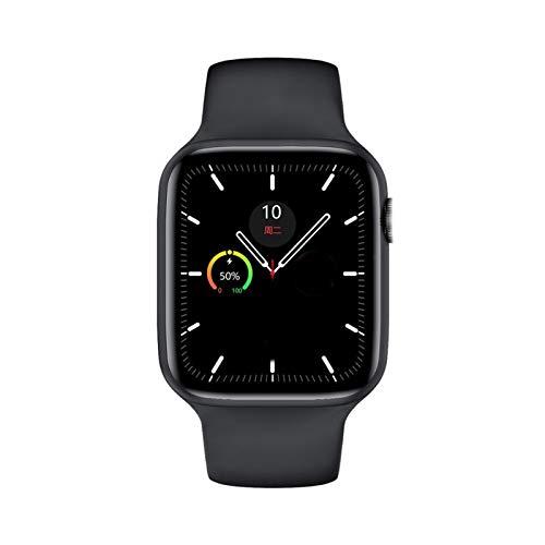 XUEMEI Smart Watch Series 6 Bluetooth Call Monitor De Frecuencia Cardíaca 1.75 Pulgadas Pantalla Táctil Completa Pulsera Inteligente PK IWO 12 (Color : Black)