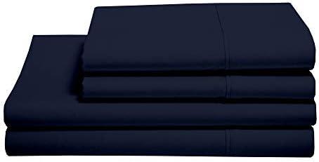 Queen Size Sheet Set – Easy Fit – 400 Thread Count Sheets – Egyptian Long Staple Cotton Sheet Set – 15″ Deep Pocket Sheets – Queen Bedding Sheets – 4 Piece Queen Sheets, Navy Blue