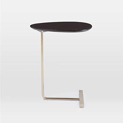 Table basse Ovale, elle peut bouger Bois massif Canapé art en fer Côté Bureau de lecture paresseux (Couleur : B)