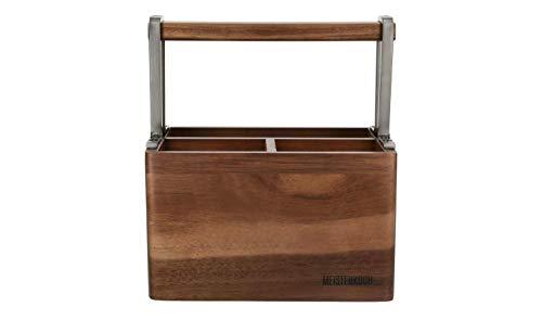 MEISTERKOCH Utensilienhalter Holz und Edelstahl mit Tragegriff für Messer Gabeln Grillbesteck und anders Besteck 14 x 21 x 23 cm