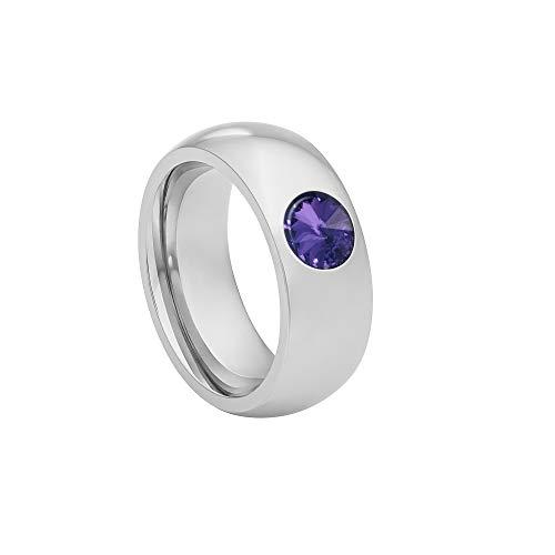 Heideman Ring Damen Coma 8 aus Edelstahl Silber farbend poliert Damenring für Frauen mit Stein Kristall Tanzanite lila im Fantasie Edelsteinschliff 6mm