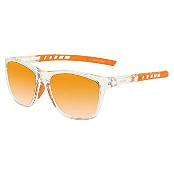 JOJEN Polarized Sports Sunglasses for Men Women Baseball Running Cycling Fishing Golf Tr90 Ultralight Frame JE001 Transparent Frame Orange Revo Lens