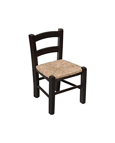 Biscottini Chaise en hêtre Massif Finition laquée Noire avec Assise Paille L30xPR29xH50 cm