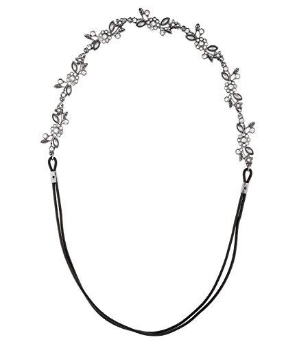 SIX Haarband mit elastischem Band, Blumen und Strasssteinen und Zierperlen, modisches Accessoire (456-888)