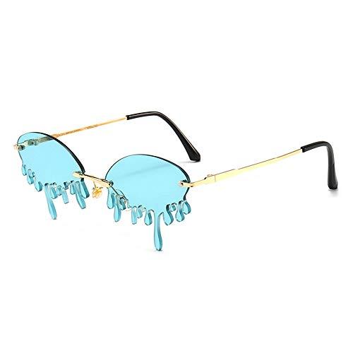 GEMSeven Lustige Randlose Sonnenbrille Für Frauen Sommer Vintage Unique Tears Shape Sonnenbrille