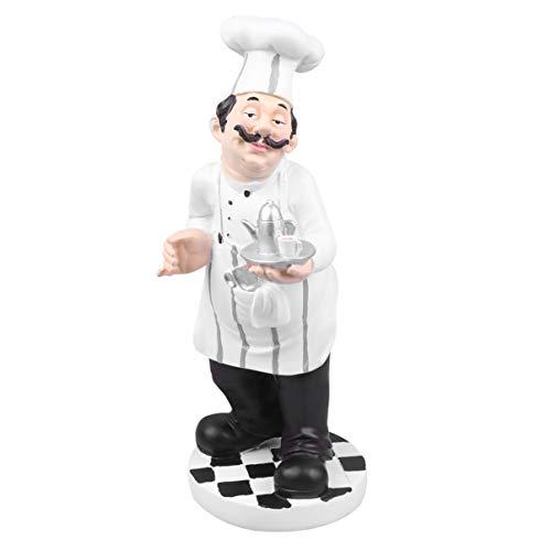 IMIKEYA Chef Beeldje Europese Stijl Chef Standbeeld Model Miniatuur Chef Ornament Tafel Bureau Chef Hars Speelgoed Voor Winkel Bakkerij Restaurant (Theepot Chef)